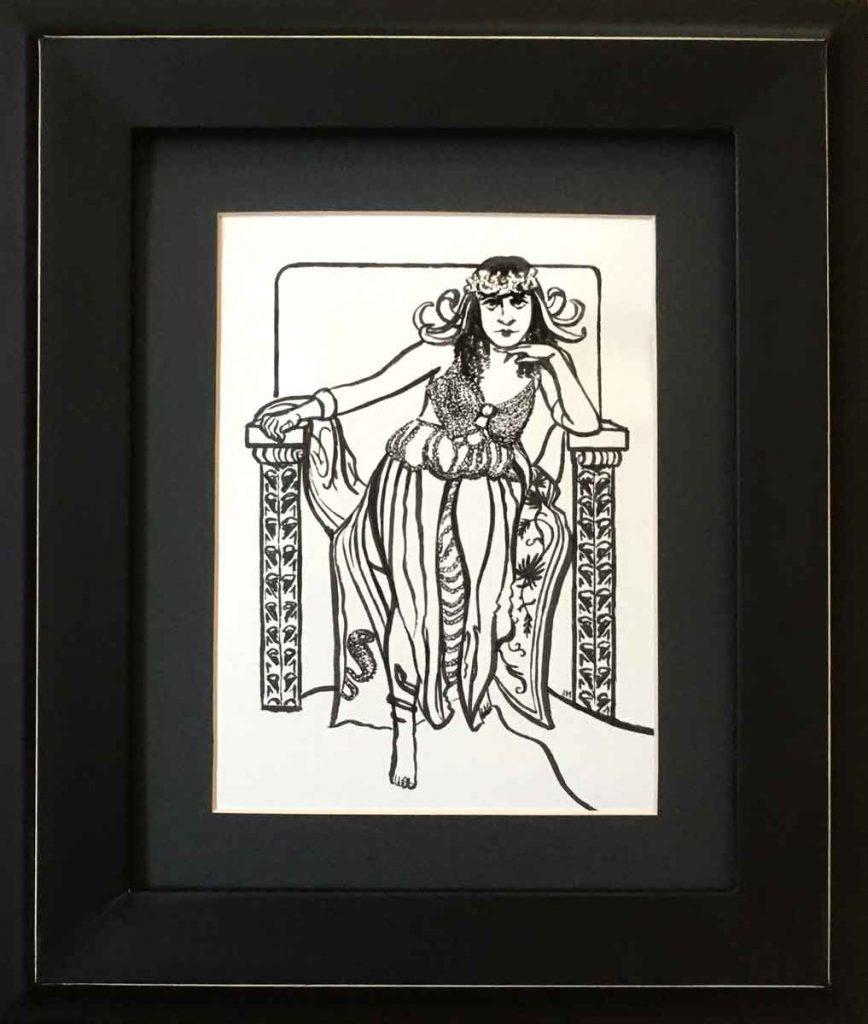 """Theda Bara •11.125"""" x 13.125"""" framed"""