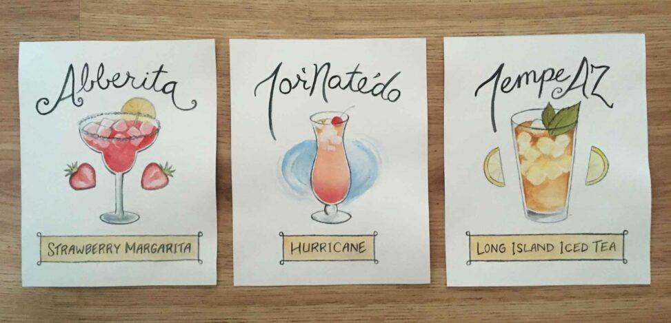 Finished cocktail illustrations