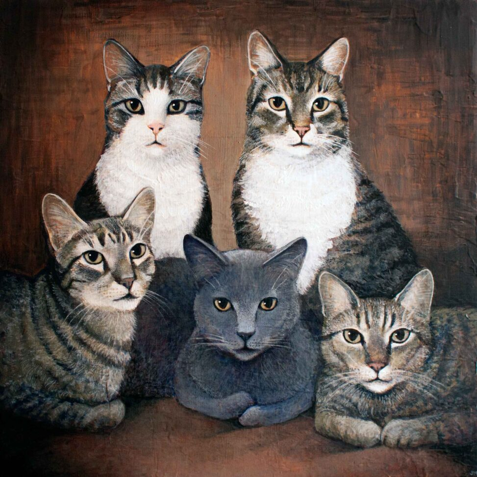 "Feline Family Portrait • 20"" x 20"""