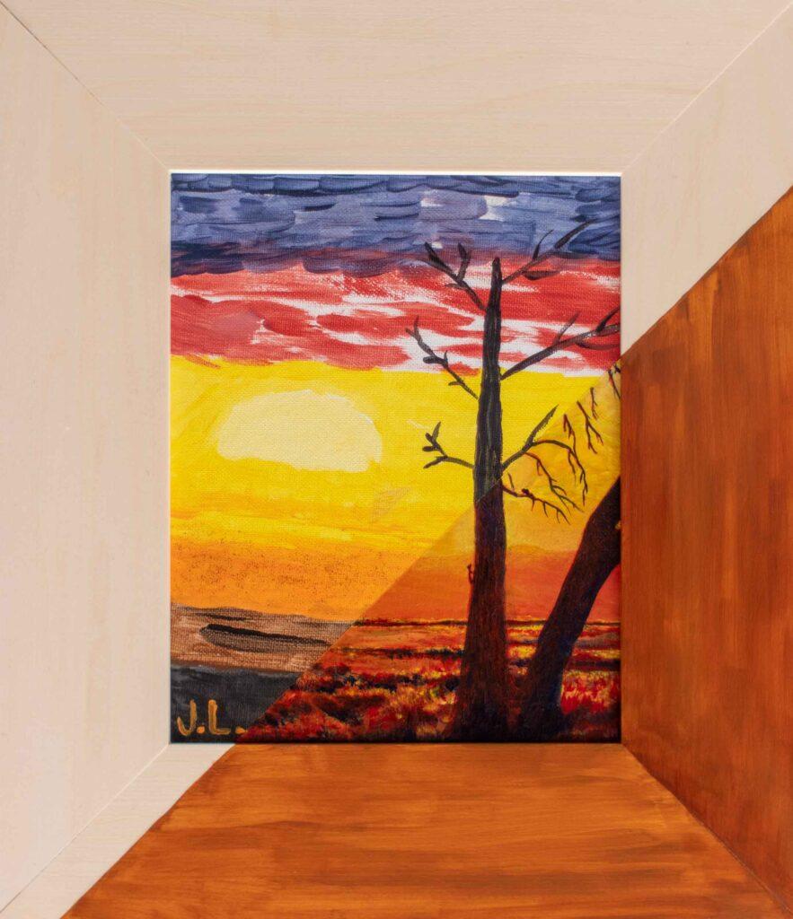 "Desert Sunset / JL •14"" x 16"""